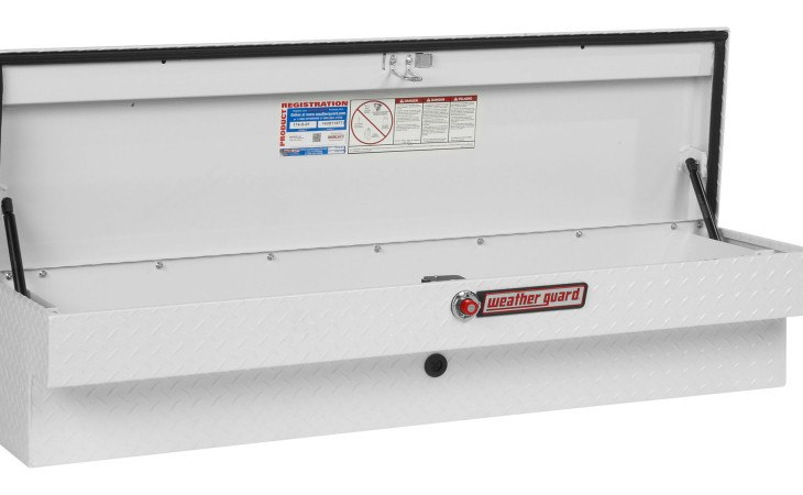 Weather Guard Side Truck Box White Open