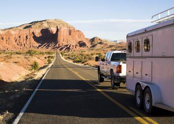 Truck pulling horse trailer