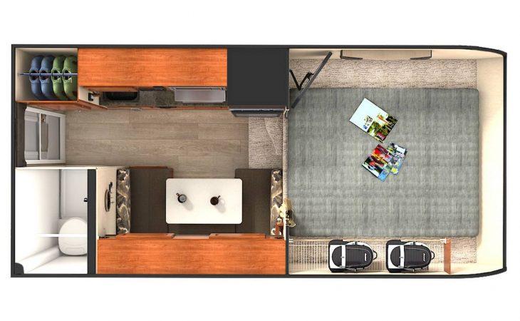 Lance 825 truck camper overhead floor plan.