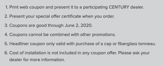 Century Coupons Terms and Conditions