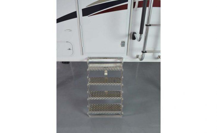 Lance 850 truck camper exterior fold down steps.