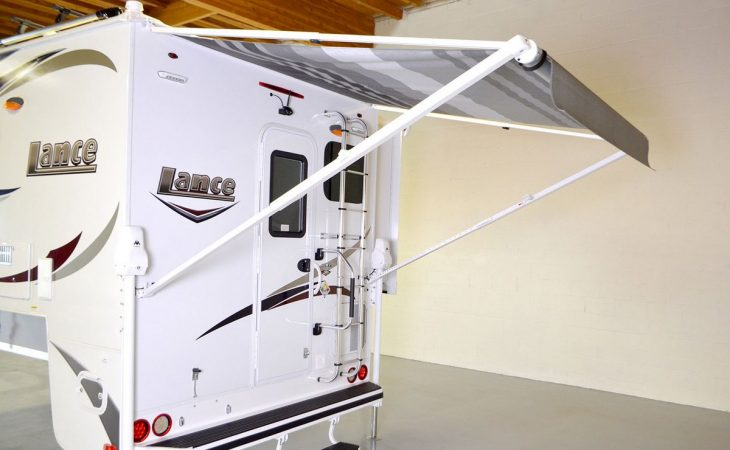 Lance 855s truck camper exterior with canopy.