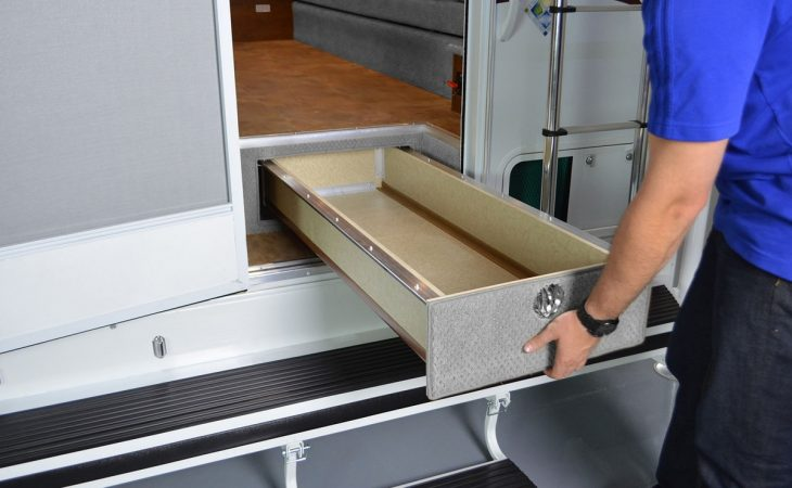 Lance 995 truck camper exterior pull out storage.