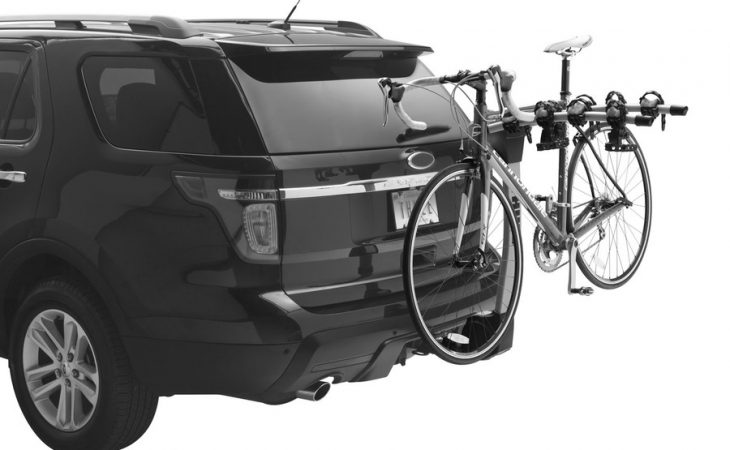 Thule Hitch Hanging Bike Rack installed on an SUV carrying one bike