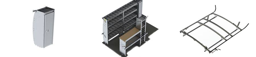 Cargo van accessories: standing cabinet, shelving system, and roof ladder rack.