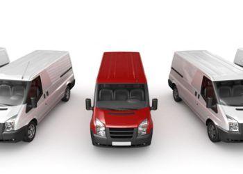 A fleet of cargo work vans