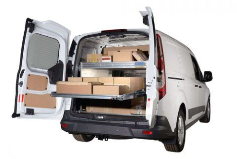 Cargo van with sliding drawers for easy access.