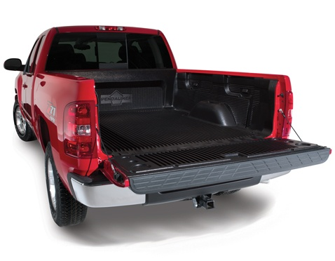 Pickup truck with plastic drop in bed liner