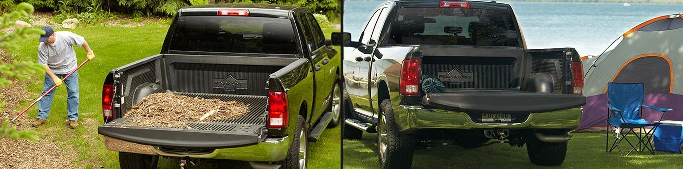 Two pickup trucks showing their new truck bed liners.