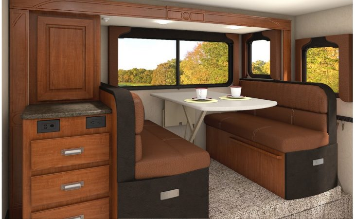 Lance 1062 truck camper dinette and window view.