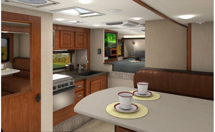 Lance 1062 truck camper kitchenette and dinette.