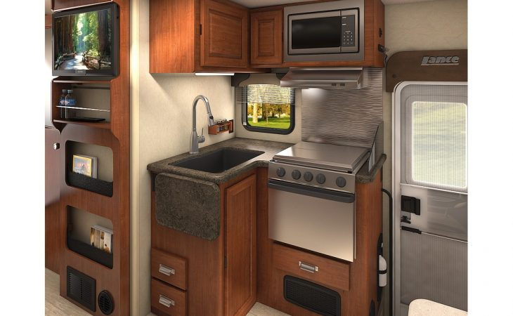 Lance 1172 truck camper kitchenette stove and microwave.
