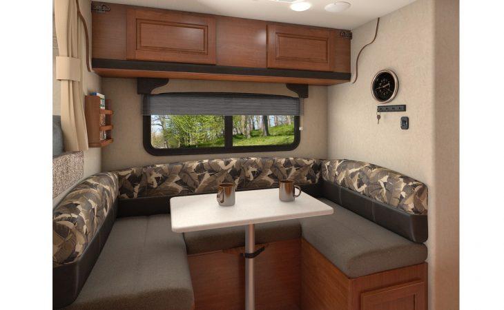 Lance 825 truck camper interior dinette seating.