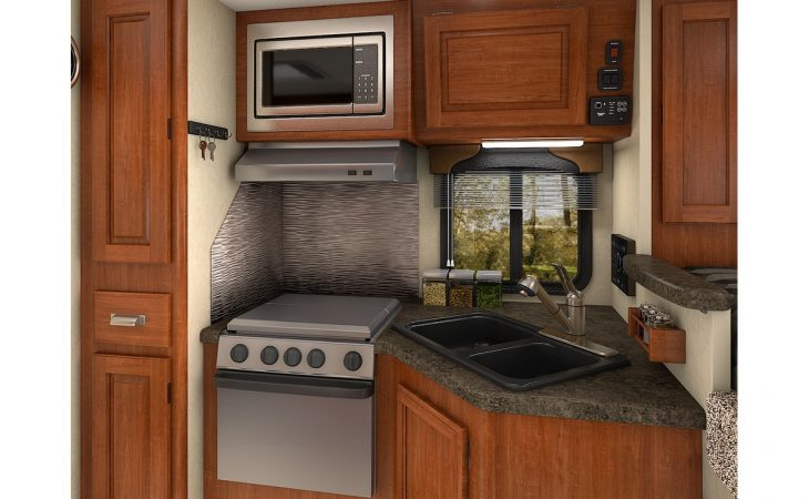 Lance 850 truck camper kitchenette stove top and microwave.