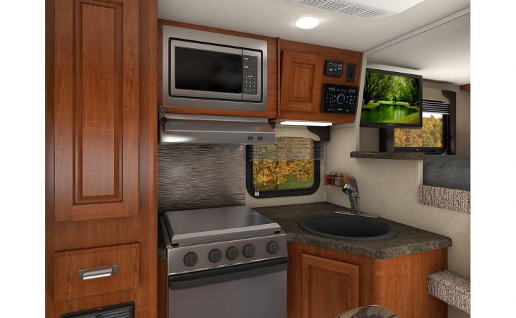 Lance 865 truck camper kitchenette stove and microwave.