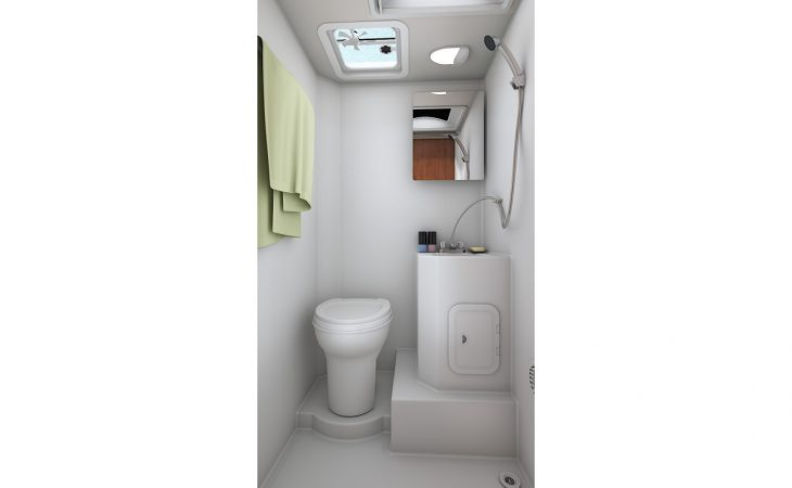 Lance 995 truck camper bathroom interior.