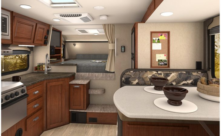 Lance 995 truck camper full interior view.