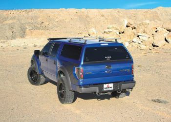 Blue Leer Camper Shell on Truck