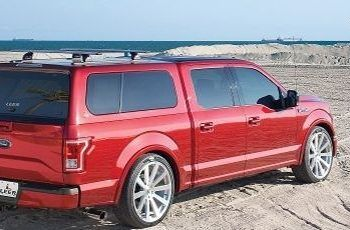 Red Leer Camper Shell on F 150