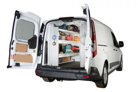 Cargo Van with custom shelving and racks.