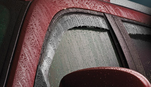 pickup equipped with window rain guards
