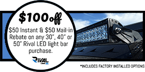 Coupon for Rival LED light bar.