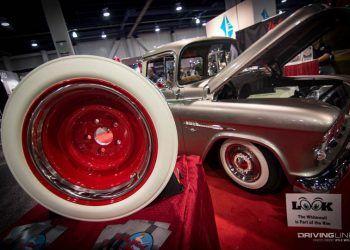 SEMA show custom classic pickup silver