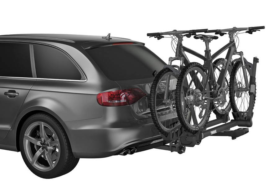 Thule Hitch Standing Platform Bike Rack installed on a SUV carrying two bikes